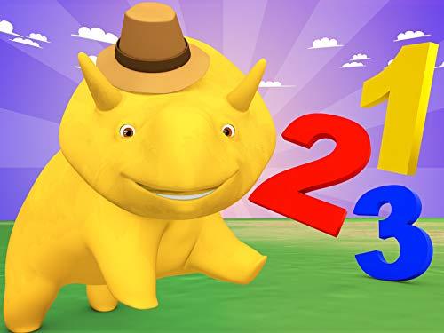 Zahlen-Detektiv spielen / über Musik / Lerne die Uhr und Minuten zu zählen / Dino und Dina lernen Zahlen mit Süßigkeiten