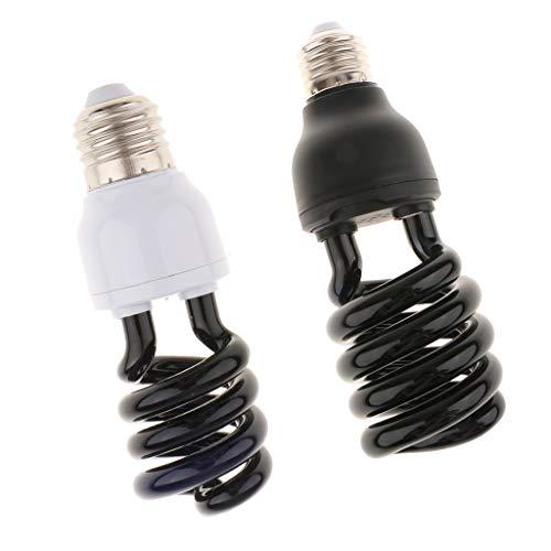 kesoto 2 Stück 12 V Ultraviolett Schwarzlicht Glühbirne Fluoreszierende Glühbirne Spirale 15 Watt + 30 Watt -