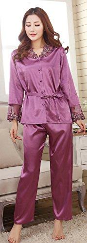 BININBOX® Damen Spitze langarm Negligee Nachthemd Zweiteiliger Schlafanzug Anzug Morgenmantel Pyjama aus Satin Sexy Elegant Nachtwäsche Lila