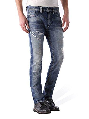 Diesel Thavar 0852M Herren Jeans Hose Slim Skinny (W30/L30, Blau)
