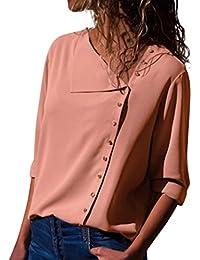 BHYDRY Casual Revers Neck T-Shirt Damen Langarm Schnalle Bluse 28d1433b97