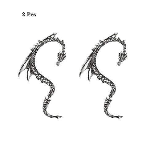 Formemory 2Pcs Drachen Ear Cuff Earring,Ohrbügel,Klassischer Punk Rock Ohrring Vintage Dragon...