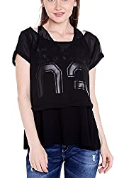 Spykar Womens Cotton Black Regular Fit Tops (Small)