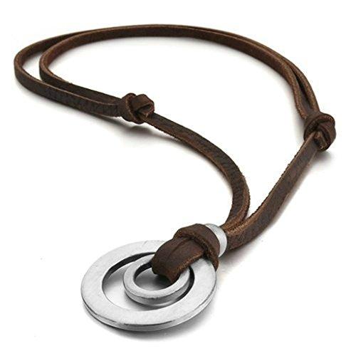 Bishilin 5 * 31MM Acero Inoxidable Circular Cuero Colgante Collar para Hombres Mujeres