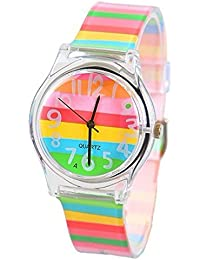 KKwell Lovely Children's Watch Color Pattern 3D Quartz Watch Cartoon Students Watches (Multi-color)
