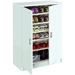 Armario auxiliar zapatero multiusos blanco brillo, estantes regulables, 2 puertas para cocina, oficina o almacenamiento. 101cm alto x 74cm ancho x 37cm fondo