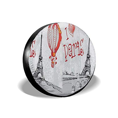 best& Tire Cover Eiffel Tower I Love Paris Romance Hot Air Potable Polyester Universal Spare Wheel Tire Cover Wheel Covers Jeep Trailer RV SUV Truck Camper Travel Trailer Accessories 14 in