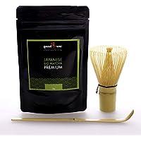 Japonés té Matcha Premio de granja orgánica + Varilla de bambú + cuchara de bambú