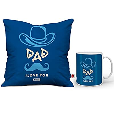 Indigifts Fathers Day Gifts from Daughter Dad Love You Quote Father Figure Blue Coffee Mug & Cushion Cover 12x12 inch with Filler - Birthday Gift for Papa-Dad, Parents Anniversary Gifts, Daddy Pillow