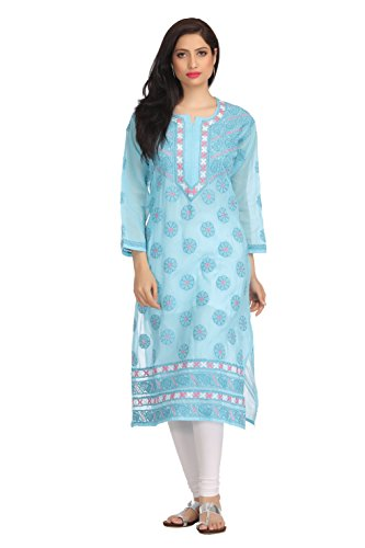 ADA Handcrafted Lucknow Chikankari Casual Wear Straight Cotton Kurti A152170