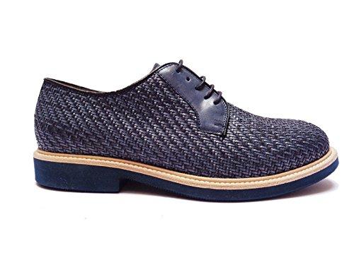 Antica Cuoieria scarpe da uomo in pelle intrecciata Blu fondo in micro-gomma leggera, num. 40