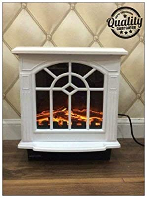 Garden Mile® 2Kw 2000w Traditional White Flame Effect Log Burner Electric Stove Insert Fire Room Heater Wood Burner 2 Heat Settings