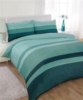 Striped Super King Size Duvet Cover Bed Set - Teal / Green