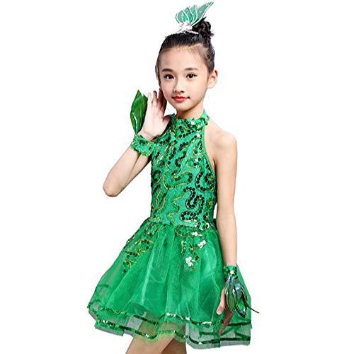 AJJDL Kinderkostüm Tutu Ballettkleid Trikot Kleid Kurzarm Prinzessin ELSA Kostüm Eisprinzessin Set aus Diadem, Handschuhe,Green,S110cm (Latein Gesellschaftstanz Kostüm)