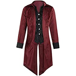 Kinlene Manteaux Homme Mode Homme RéTro Gothique Robe de SoiréE Revers Tailcoat ÉQuipement de ScèNe Manteau Jacket Gothique Steampunk Uniforme Costume Party Outwear Manteau Longue Gentilhomme Top