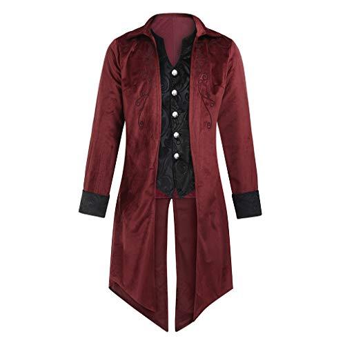 MCYs Herren Jacke Goth Frack Steampunk Uniform Kostüm Outwear Smoking Viktorianische Vintage Cosplay Uniform Piraten Mittellang Männer Mantel (Piraten-trenchcoat Männer)
