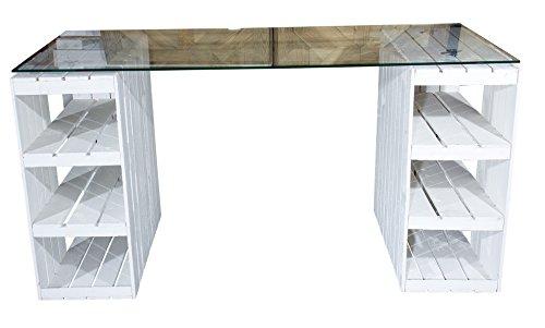 Shabby Chic Schreibtisch mit Glasplatte 140x70x75cm