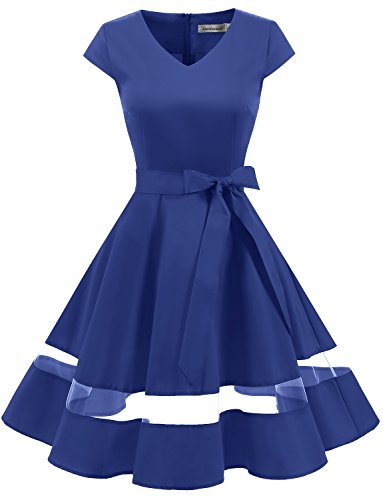 Gardenwed Damen Vintage 1950er Retro Rockabilly Cocktail Party Kleid Royal Blue XS (Plus Rockabilly Size)