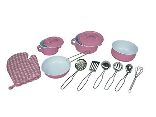 Holzspielzeug Peitz Kinder-Kochgeschirr - Küchenhelfer - Rosa - 13 teilig SLH 2193 - Kochtopf-Set