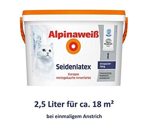 ALPINA Alpinaweiß Seidenlatex 2,5 Liter strapazierfähige Latexfarbe Wandfarbe Weiß Seidenglanz
