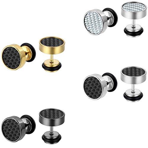 JewelryWe Schmuck 4 Paare Herren Damen Ohrringe, Kohlefaser Inlay Ohrstecker, 9mm, Edelstahl, Gold Silber Schwarz Weiss