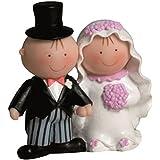 Mopec Y490 - Figura de pastel pareja de novios Pit & Pita de la mano, 14 cm