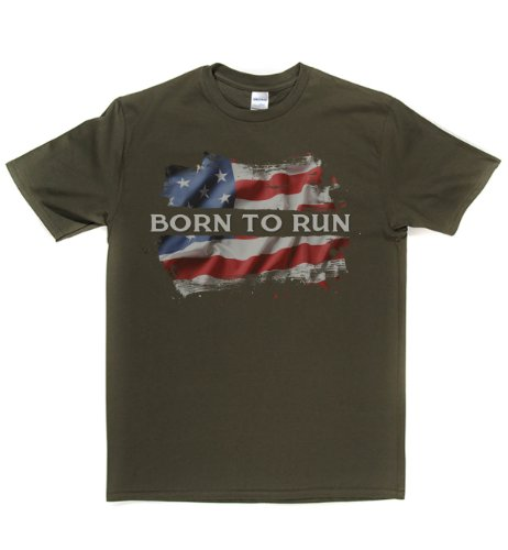 Rough Justice Born To Run Classic Rock Musik Legends Retro-T-Shirt Militär-Grün