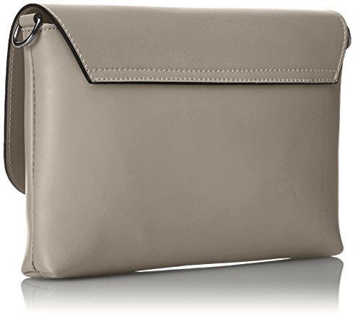 CTM Pochette da Donna, borsetta con tracolla interna, vera pelle made in Italy - 26x18x6 Cm Fango
