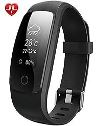 Pulsera Fitness Inteligente Willful Pulsera Actividad Monitor de Actividad y Bluetooth con Pulsómetros, Podómetro, Monitor de Dormir, Monitor de Calorías, Control de musica, Notificación de mensaje, Clima Pulsera Deportiva para iOS y Android Teléfono inteligente Negro