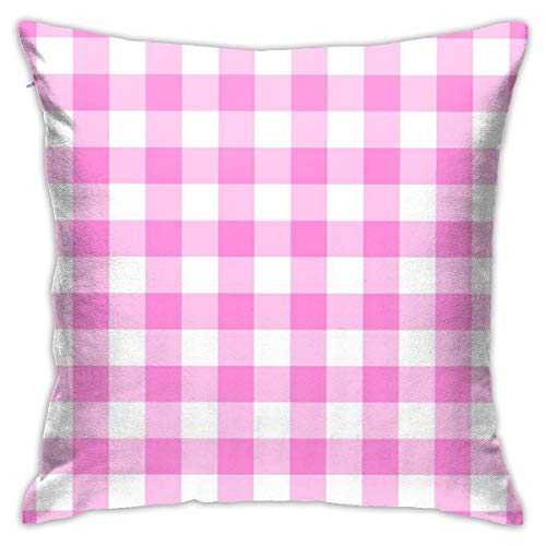 Myhou Throw Pillow Covers Home Decor Pink Check Cushion Covers with Zip Cotton Pillow Protector Sofa Pillow Case 18 x 18 -