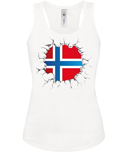 Fussball Fanshirt Norwegen 5766 Fan Shirt Tshirt Fanartikel Artikel Frauen Damen Tank Top Tanktop T-Shirts Weiss M