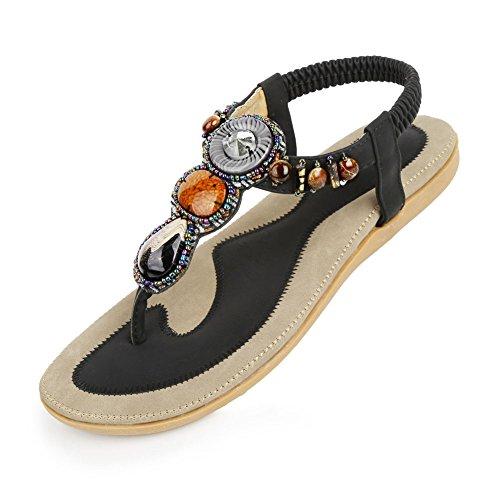 Longra sandali della signora Boemia (EU Size:38, Rosso)
