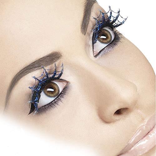 Damen Blue Spiderweb Glitter Wimpern Hexe Halloween Fancy -