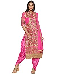 Mordenfab Pink Heavy Embroidered Suits For Women Indo-Western For Party Wedding Wear Floor Length Gown/ Anarkali...