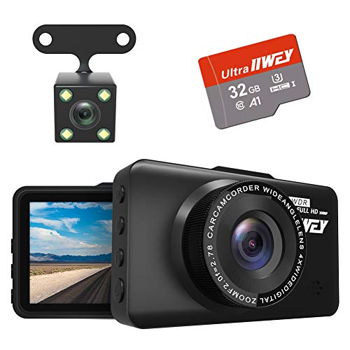 Dash Cam Front and Rear Camera FHD 1080P with Night Vision and SD Card Included, 3 Inch IPS Screen Dash Cam for Cars, 170°Wide Angle Dashboard Camera DVR Motion Detection Parking Monitor G-Sensor HDR