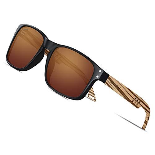 KITHDIA Sonnenbrille Herren/Damen Polarisiert Holz Männer Frauen Sonnenbrillen UV400 Mode für das Reisen mit polarisierten Gläsern