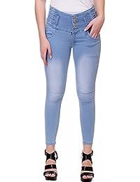Broadstar Denim Solid High-Waist Jeans For Women