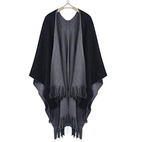 Capes pour Femmes, Toamen Tricoté Poncho en cachemire Cardigans Pull Manteau Châle Hiver (Gris)