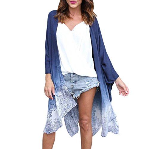 Kimono Goosun Frau Sommer Blumen Dreiviertelärmel Chiffon Cardigans Women Coat Beachwear Jacke Strandponcho Vintage Vertuschen Bluse Langarmshirt Lose Oberteil Mantel Schal Strandkleidung (XL, Blau)