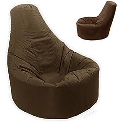 Puf MaxiBean relleno de judías con respaldo para adultos, tamaño grande XXL, para juegos y actividades en interiores y exteriores, color marrón, impermeable y resistente a las condiciones meteorológicas