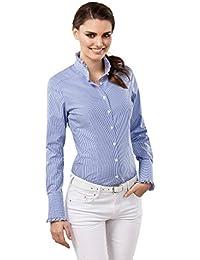 VB Damen Bluse Modern Fit Rüschenkragen Kariert Bügelfrei Langarm