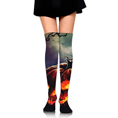 HRTSHRTE Halloween Black Pumpkin Devil Scary Ankle Stockings Over The Knee Sexy Womens Sports Athletic Soccer Socks Devils Camo
