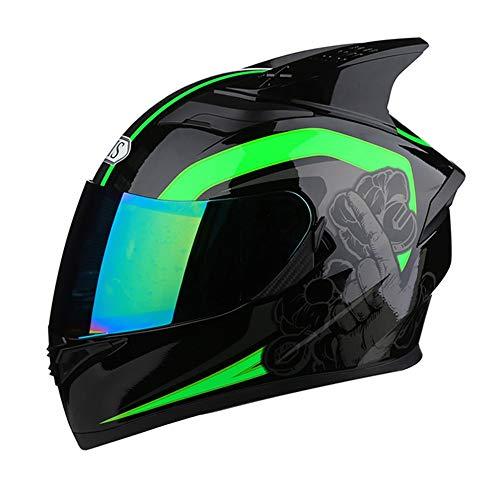 LAAL Motorrad Vier Jahreszeiten Integralhelm Bunte Linse Doppellinse Mode Atmungsaktive Sicherheitsecke Helm The Compressive (Farbe : Farbe, Size : XXL)