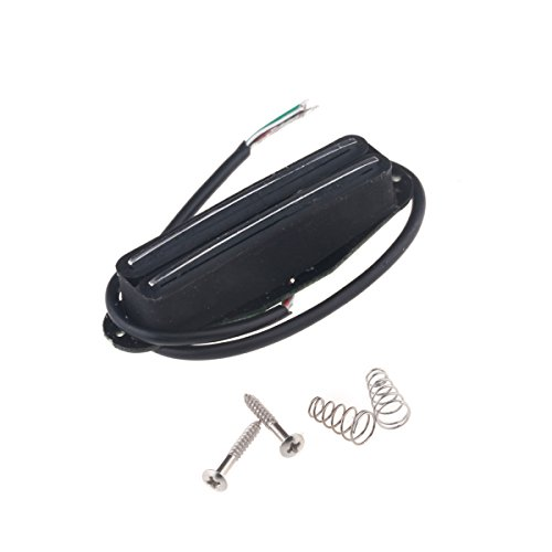 Musiclily Humbucker in Simple Coil Format Hot Rails Pickup for ST Style Electric Guitar, Black Body with Chrome Rail