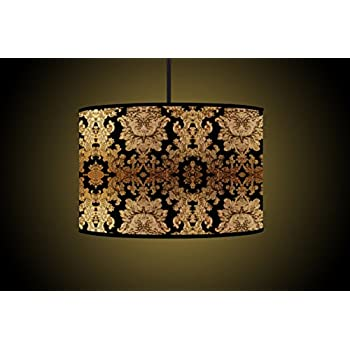 30CM Black Gold Drum Lampshade Handmade Printed Fabric Floor Lamp Shade Ceiling Light