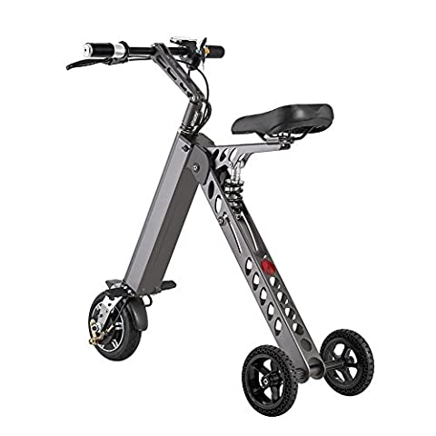Bearshifu Foldable Electric Tricycle, 24lbs Most Lightweight Small Size, Three Wheels Scooter with Seat(Grey)
