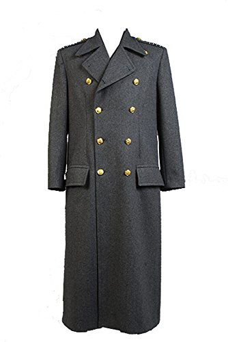 Torchwood Doctor Captain Jack Harkness Wool Trench Coat Grau Cosplay Kostüm Version