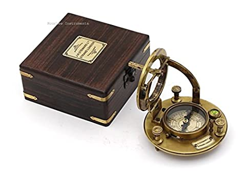 Collectible Sundial Compass J.H. STEWARD with protective wooden box