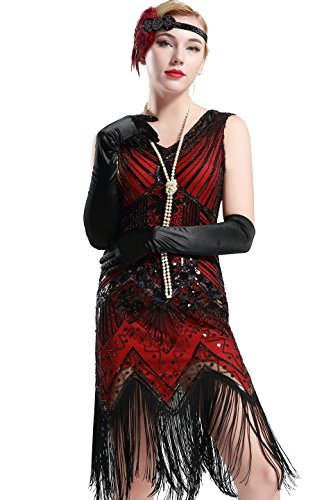 BABEYOND Damen Flapper Kleider voller Pailletten Retro 1920er Jahre Stil V-Ausschnitt Great Gatsby Motto Party Damen Kostüm Kleid (Größe XL/UK 18 / EU46, Rot) (Kostüme Flapper 1920)