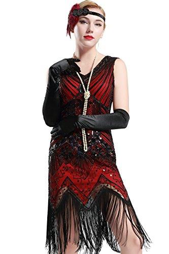 flapper kostuem BABEYOND Damen Flapper Kleider voller Pailletten Retro 1920er Jahre Stil V-Ausschnitt Great Gatsby Motto Party Damen Kostüm Kleid (Größe S / UK8-10 / EU36-38, Rot)